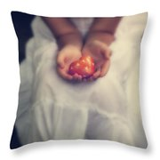 Girl Is Holding A Heart Throw Pillow by Joana Kruse