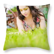 Girl Reading Book Throw Pillow by Jorgo Photography - Wall Art Gallery