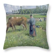 Girl Tending A Cow In Pasture Throw Pillow by Camille Pissarro