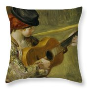 Girl with a Guitar Throw Pillow by Pierre Auguste Renoir