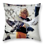 Girl With Pigeons Throw Pillow by Heiko Koehrer-Wagner