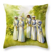 Girls In The Band Throw Pillow by Jane Whiting Chrzanoska