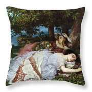 Girls On The Banks Of The Seine Throw Pillow by Gustave Courbet