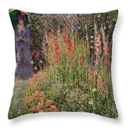 Gladioli Throw Pillow by Claude Monet