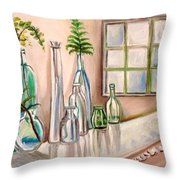 Glass and Ferns Throw Pillow by Elizabeth Robinette Tyndall