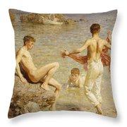 Gleaming Waters Throw Pillow by Henry Scott Tuke