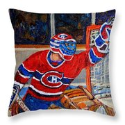 Goalie Makes The Save Stanley Cup Playoffs Throw Pillow by Carole Spandau