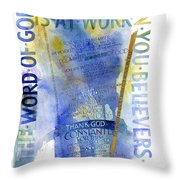 God At Work Throw Pillow by Judy Dodds