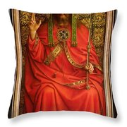 God The Father Throw Pillow by Hubert and Jan Van Eyck