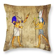 Gods Of Ancient Egypt Throw Pillow by Michal Boubin