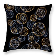 Gold And Blue Abstract Circles Throw Pillow by Frank Tschakert