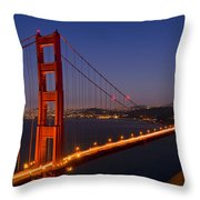 Golden Gate Bridge by Night Throw Pillow by Melanie Viola