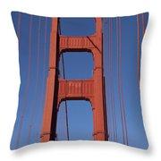 Golden Gate Bridge Tower Throw Pillow by Garry Gay