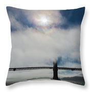 Golden Gate Silhouette And Rainbow Throw Pillow by Scott Campbell