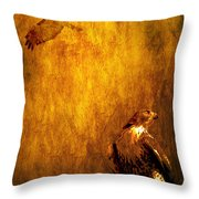 Golden Hawk 4 Throw Pillow by Wingsdomain Art and Photography