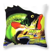 Gone Fishing Throw Pillow by Linda Simon