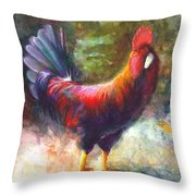 Gonzalez the Rooster Throw Pillow by Talya Johnson