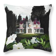 Gothic Country House Detail From Night Bridge Throw Pillow by Melissa A Benson