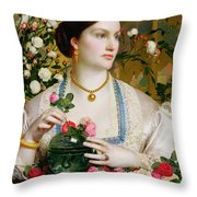 Grace Rose Throw Pillow by Anthony Frederick Augustus Sandys