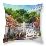 Grand Hotel Gardens Mackinac Island Michigan Throw Pillow by Betsy Foster Breen