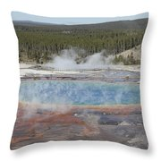 Grand Prismatic Spring, Midway Geyser Throw Pillow by Richard Roscoe