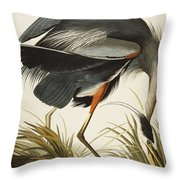 Great Blue Heron Throw Pillow by John James Audubon