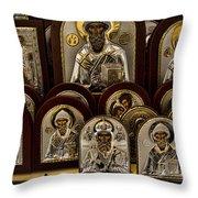 Greek Orthodox Church Icons Throw Pillow by David Smith