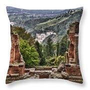 Greek Theater Throw Pillow by Janet Fikar