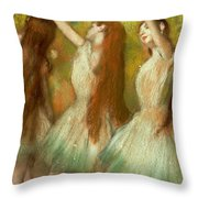 Green Dancers Throw Pillow by Edgar Degas
