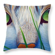 Green Eyes Throw Pillow by Brian  Commerford