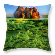 Green Fly Geyser Throw Pillow by Inge Johnsson