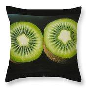 Green Kiwi Oil Painting  Throw Pillow by Natalja Picugina