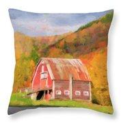 Green Mountains Barn Throw Pillow by Betty LaRue
