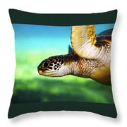 Green Sea Turtle Throw Pillow by Marilyn Hunt