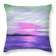 Green Skies And Purple Seas Sunset Throw Pillow by Gina De Gorna