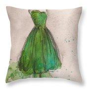 Green Strapless Dress Throw Pillow by Lauren Maurer