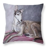 Greyhound at Rest Throw Pillow by George Pedro