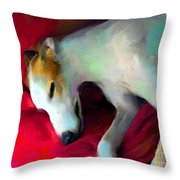 Greyhound Dog Portrait  Throw Pillow by Svetlana Novikova