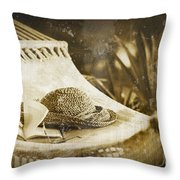 Grunge Photo Of Hammock And Book Throw Pillow by Sandra Cunningham
