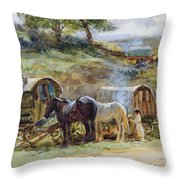 Gypsy Encampment Throw Pillow by John Atkinson