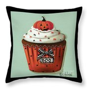 Halloween Pumpkin Cupcake Throw Pillow by Catherine Holman