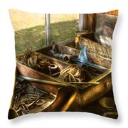 Handyman - Junk On A Bench Throw Pillow by Mike Savad