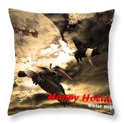 Happy Holidays . Winter Migration Throw Pillow by Wingsdomain Art and Photography