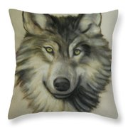 Happy Wolf Throw Pillow by Linda Diane Taylor