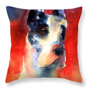Harlequin Great Dane Watercolor Painting Throw Pillow by Svetlana Novikova