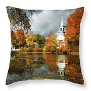 Harrisville New Hampshire - New England Fall Landscape White Steeple Throw Pillow by Jon Holiday