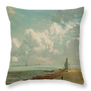 Harwich - The Low Lighthouse And Beacon Hill Throw Pillow by John Constable