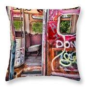 Haunted Graffiti Art Bus Throw Pillow by Susan Candelario