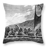 Hawaii: Canoe, 1779 Throw Pillow by Granger