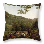 Haymakers Picnicking in a Field Throw Pillow by Jean Louis De Marne